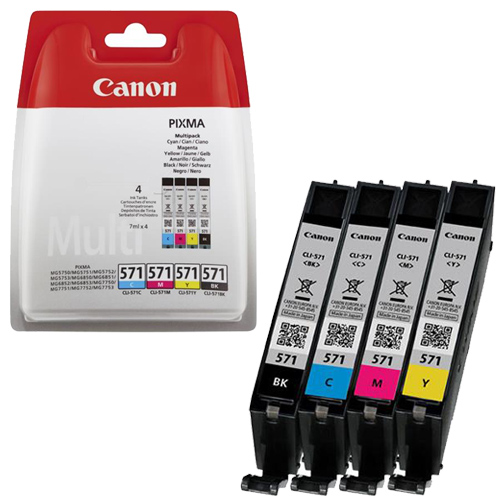 Cartridge Canon CLI-571 Bk/C/M/Y, 0386C005 - originální (Multipack)