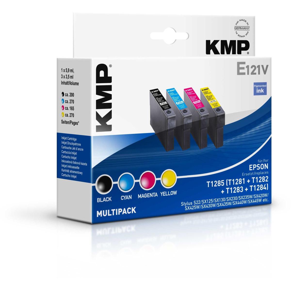 Cartridge Epson T1285, KMP - kompatibilní (Černá + 3x Barvy)