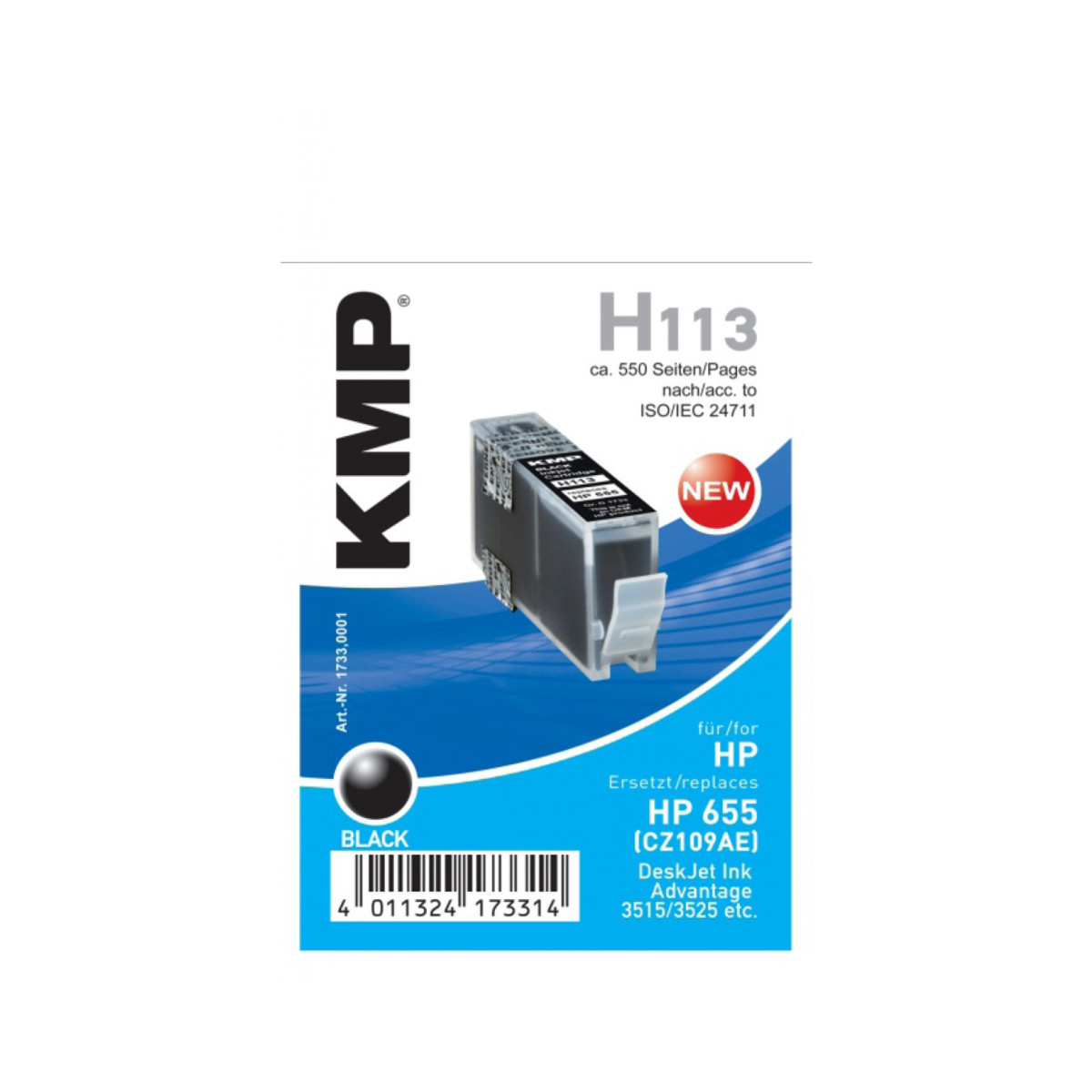 Cartridge HP 655, HP CZ109AE, KMP - kompatibilní (Černá)